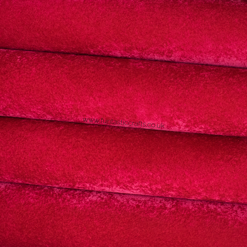 Red Velvet Faux Leather Fabric