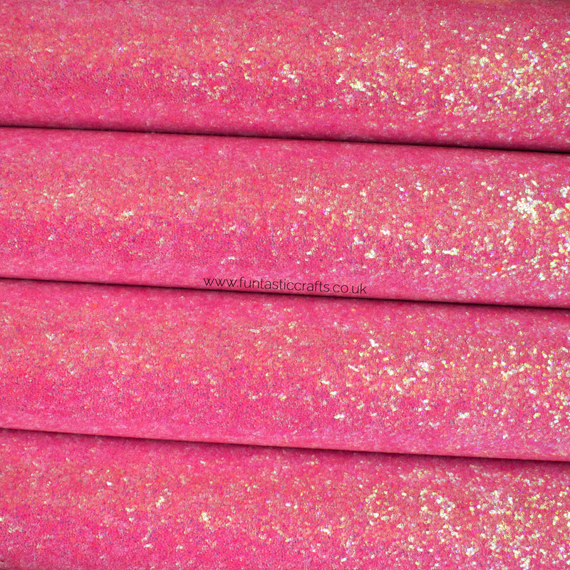 Smooth Waterproof Iridescent Glitter Fabric - Sherbet Pink