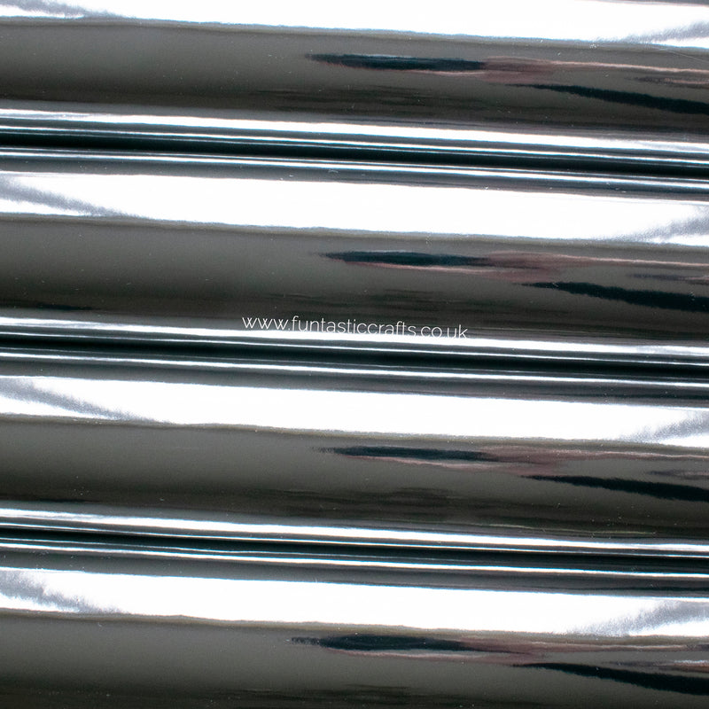 Silver Mirrored Leatherette Fabric