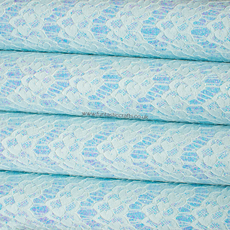 Iridescent Pastel Glitter Lace Fabric - Sky Blue