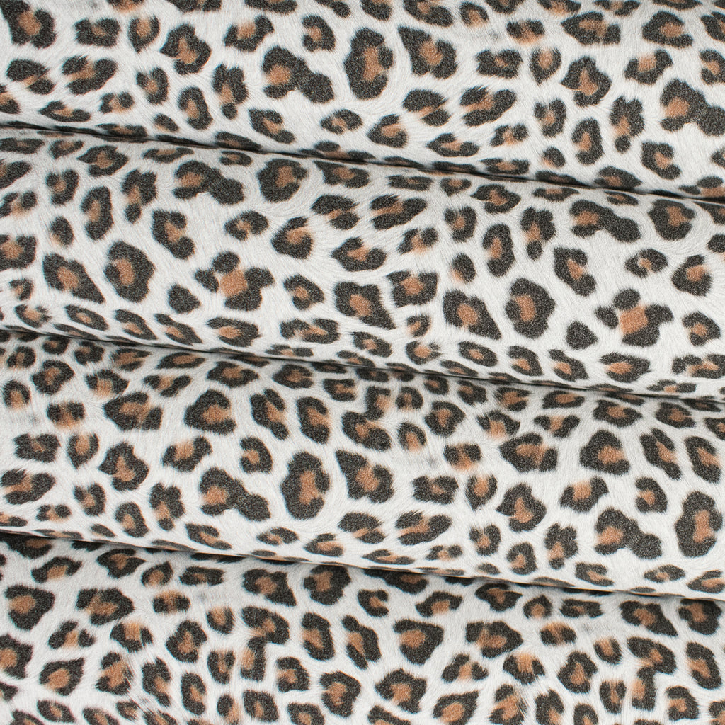 Leopard Print Faux Suede Fabric - White