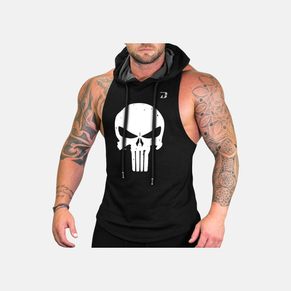 The Punisher Hooded Tank Top-Black
