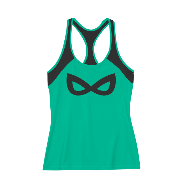 Dabs Ladies Cat Woman Work Tank-Aqua Green - dabs-fitness