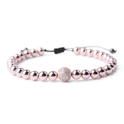 "Mens ""Paven Sphere"" Luxury Bracelet with bead and CZ detailing"