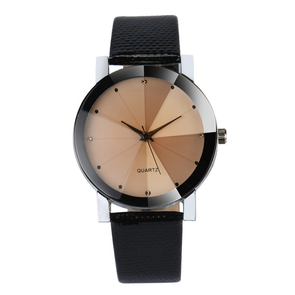 "Mens ""BLACKOUT"" quartz watch with leather style strap"
