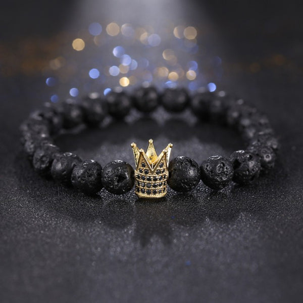 "mens Black charcoal ""Gold Crown"" style bead bracelet"