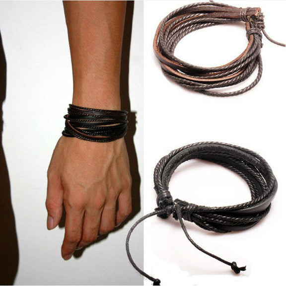 Brown hand woven leather bracelet rope style