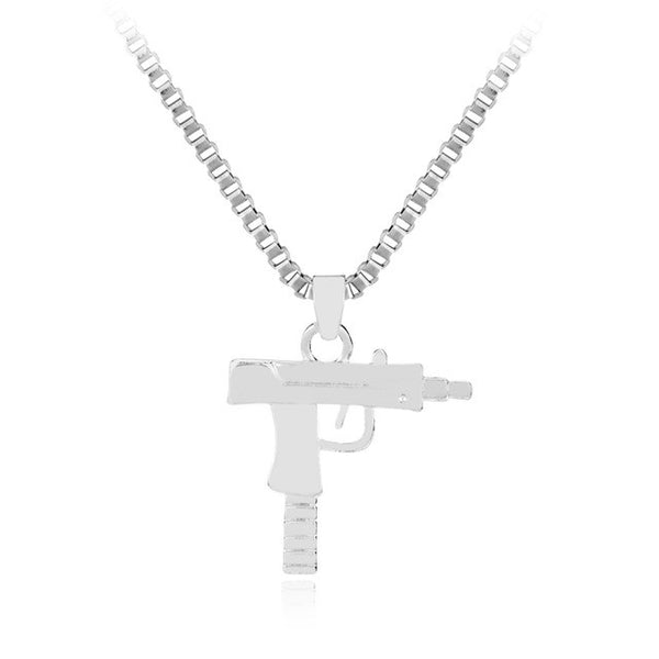 Gold/Silver Uzi Pendant Necklace & Chain