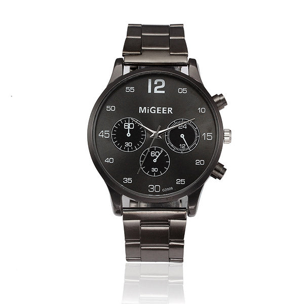 "Mens ""Black Magic"" Steel metal strap watch"