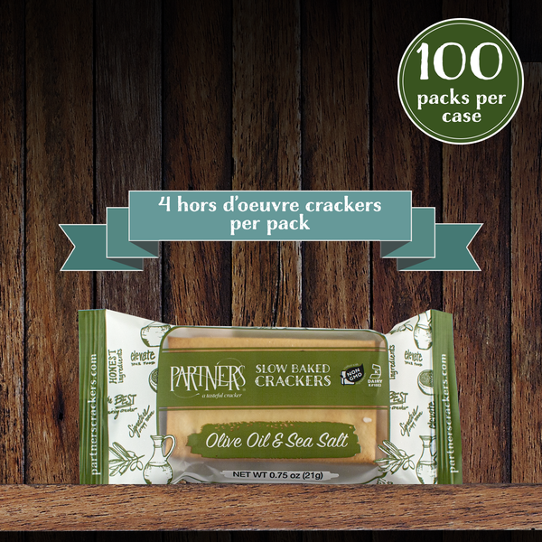 Snack Packs : Hors d'Oeuvre Crackers : Olive Oil & Sea Salt - 100 Packs Per Case