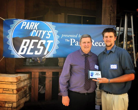 Ken & Cole Whipple Accepting Award for Park City's Best Jewelry Store