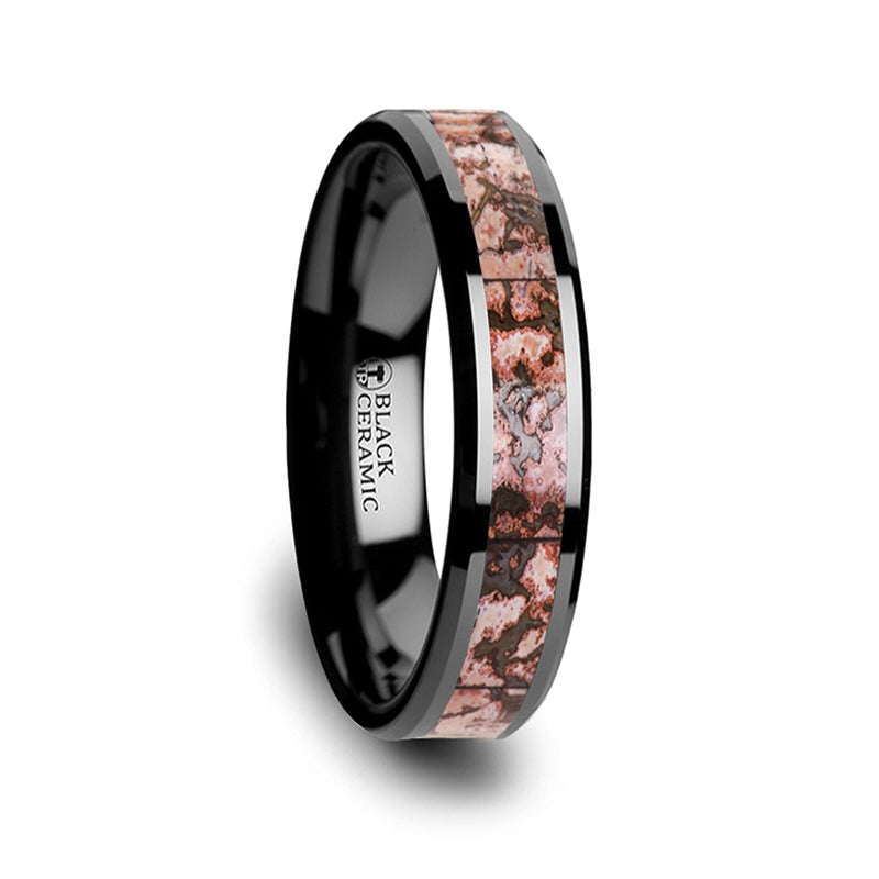 Thin Pink Dinosaur Bone Inlaid Black Ceramic Beveled Edged Ring