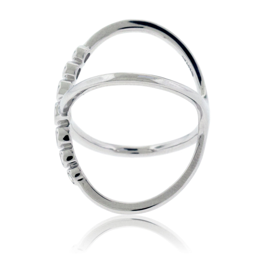 Criss-Cross Diamond Bubble Fashion Ring