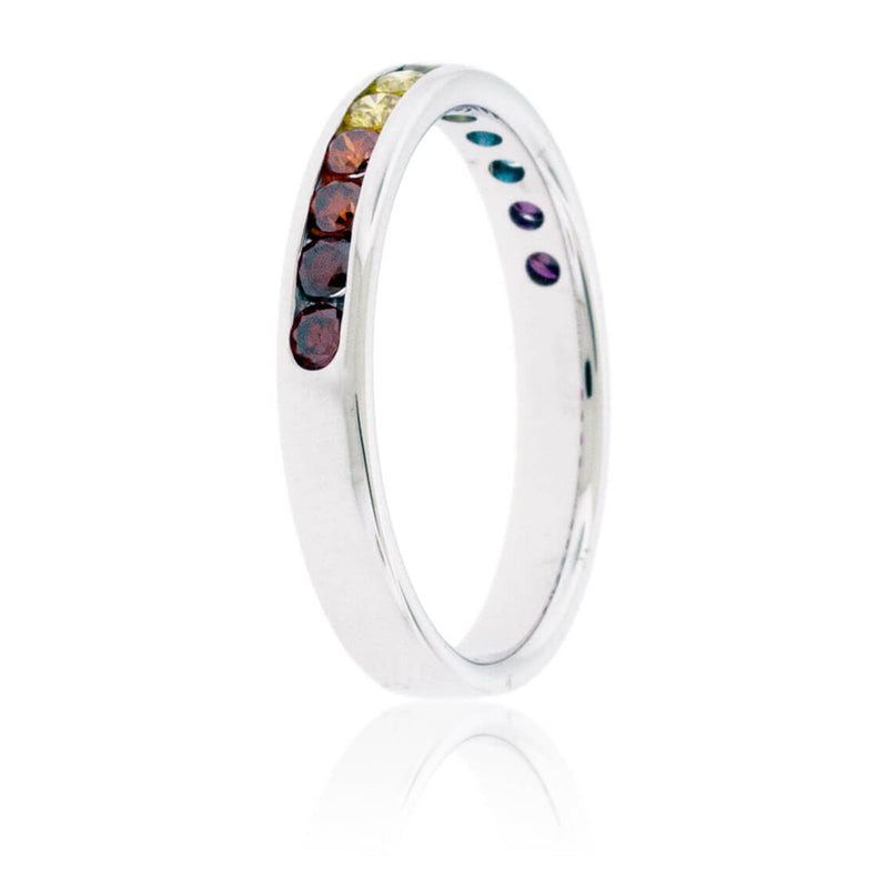 Channel Set Colored Diamond Rainbow Style Band