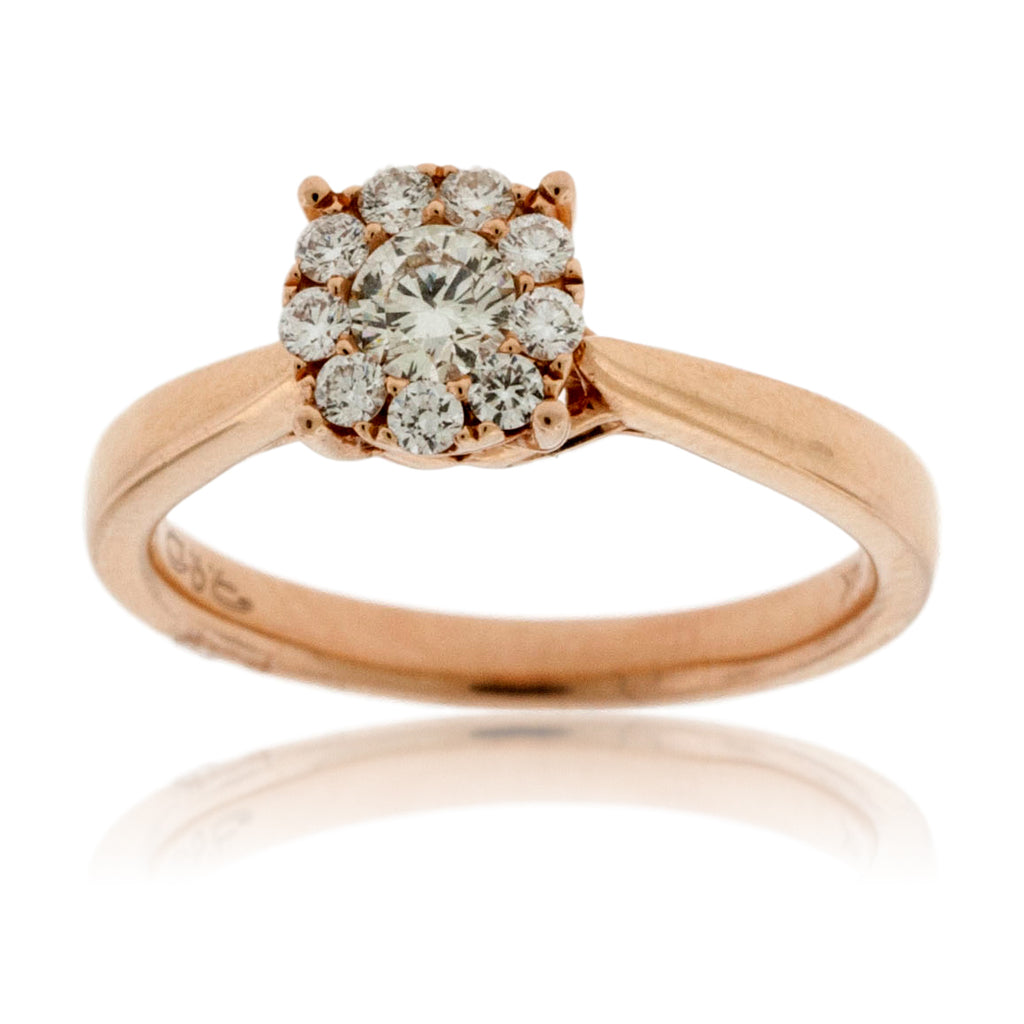 Diamond Cluster Rose Gold Engagement Ring