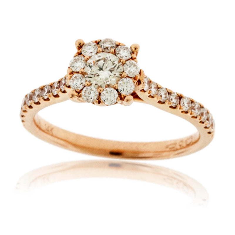 Gold Round Diamond Cluster Engagement Ring