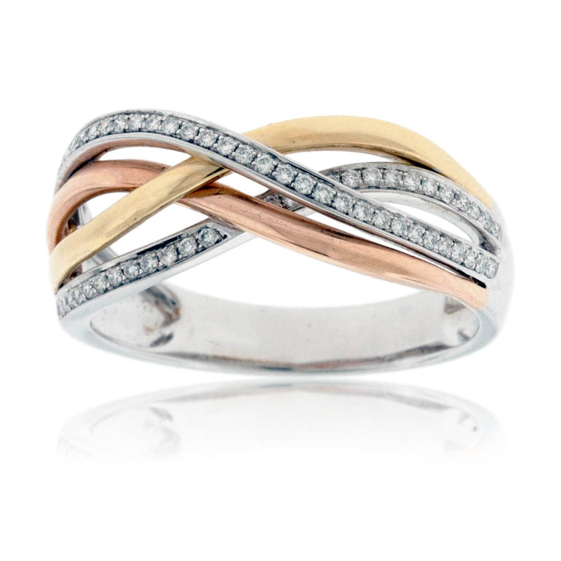 Tri Gold Overlapping Diamond Band