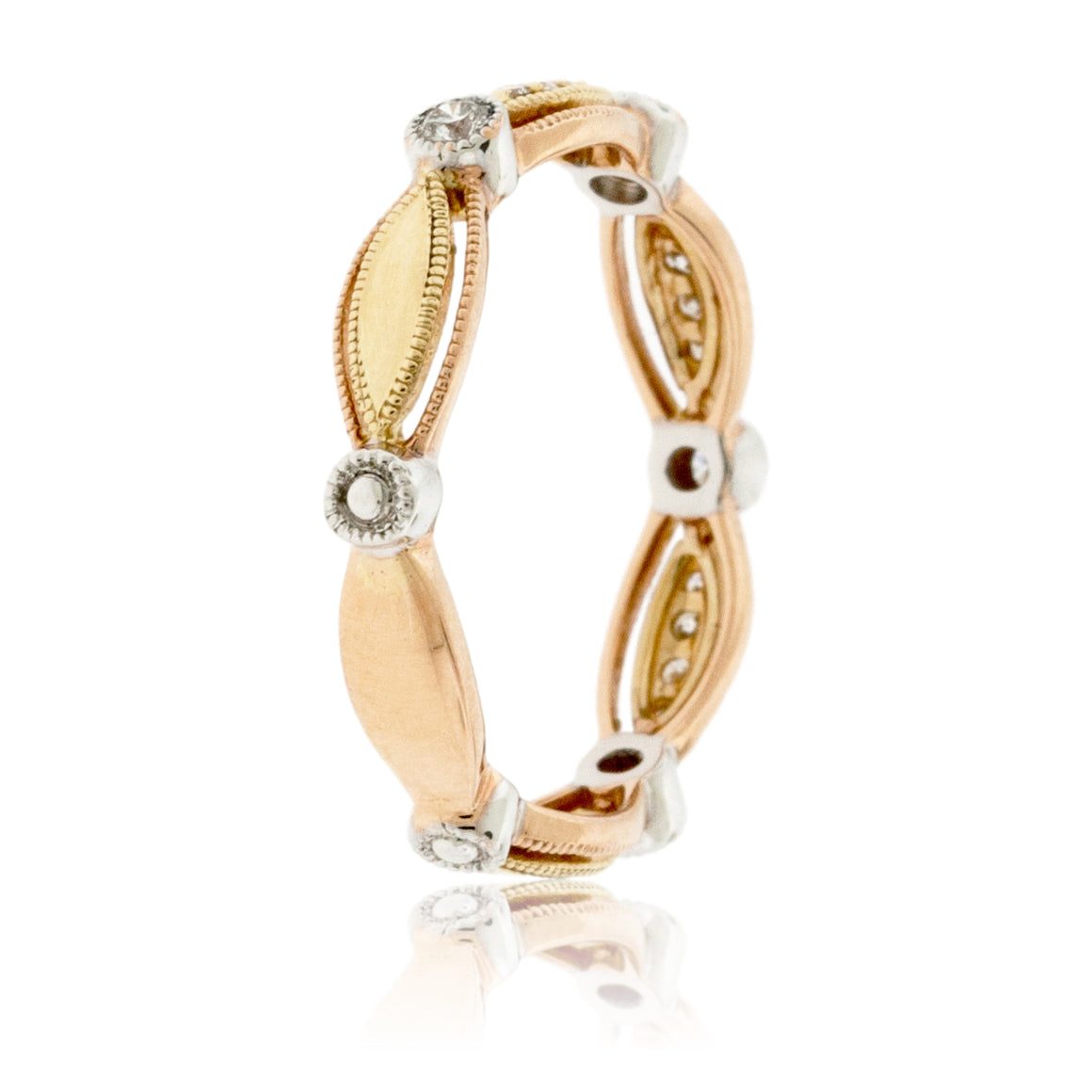 Rose Gold, Yellow Gold, and White Gold Diamond Decorative Band