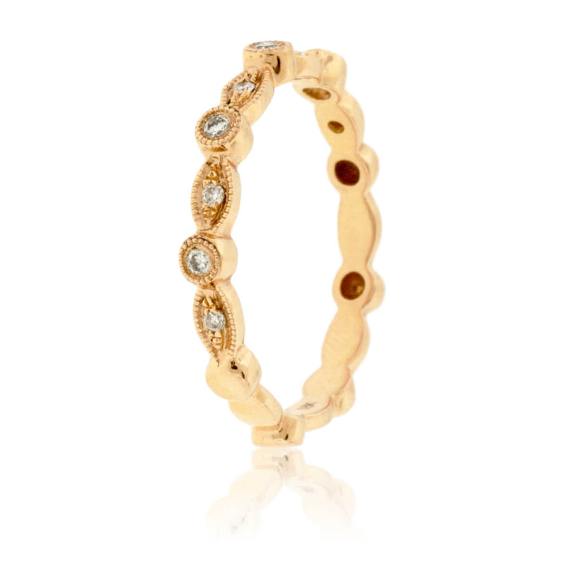 Milgrain Style Bezel Set Stackable Band