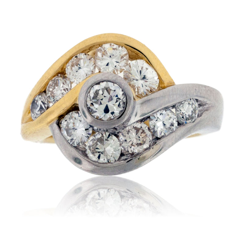 Two Tone White & Yellow Gold Diamond Fashion Ring
