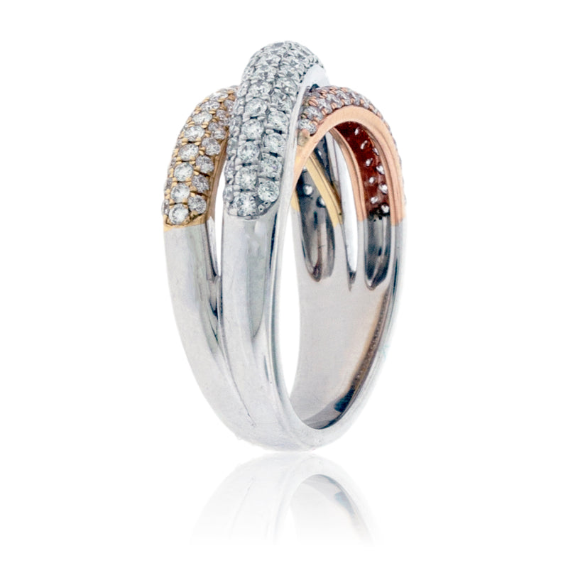 Tri-Gold Bypassing Diamond Fashion Statement Ring