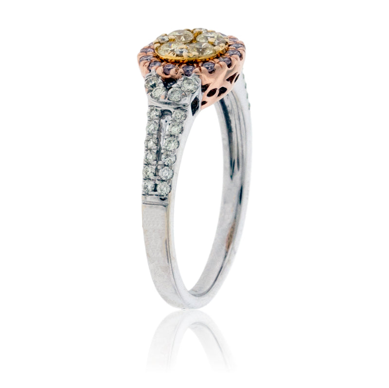 Yellow, Pink, and White Diamond Cluster Engagement Style Ring