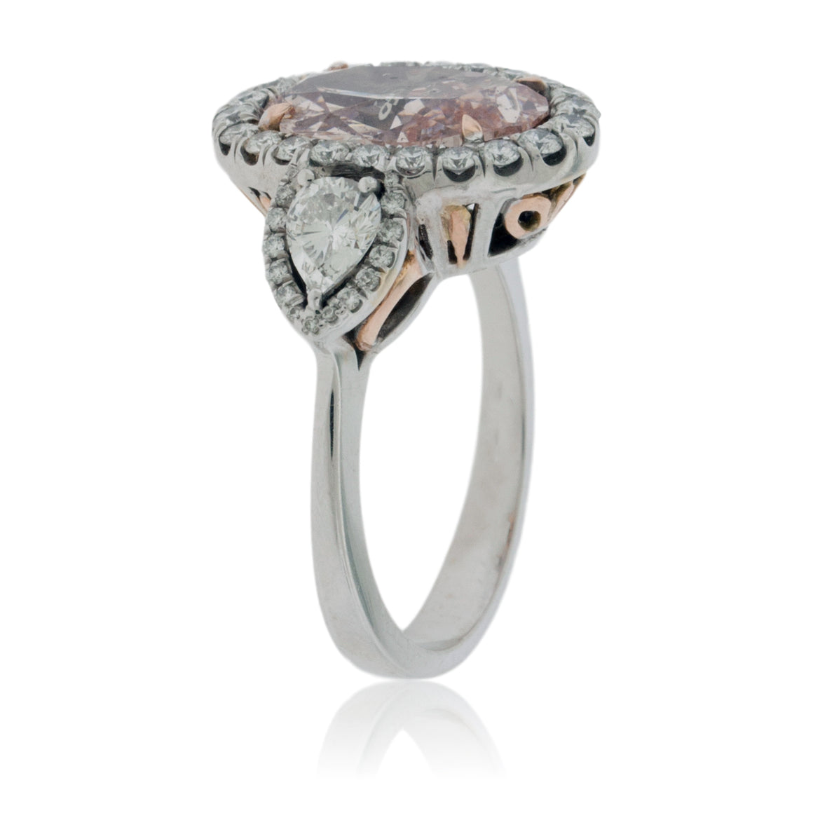 Pink Diamond Oval Ring with Diamond Accents