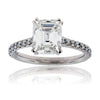 Platinum Emerald Cut Diamond Ring with Diamond Band