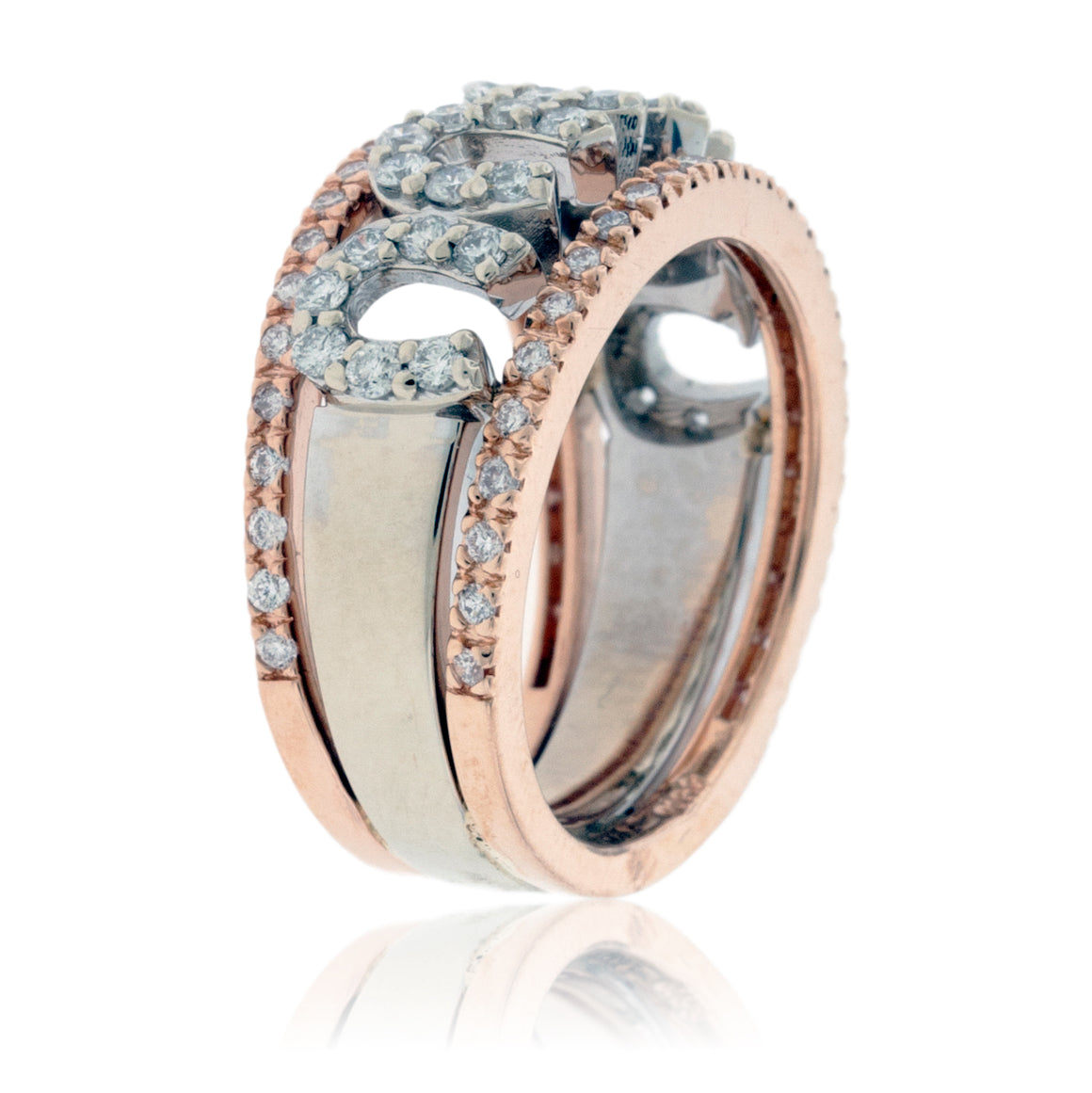 Horse Shoe Style White Gold and Rose Gold Diamond Ring