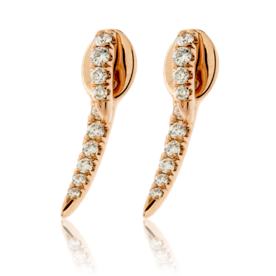 Rose Gold Diamond Fashion Drop Earrings