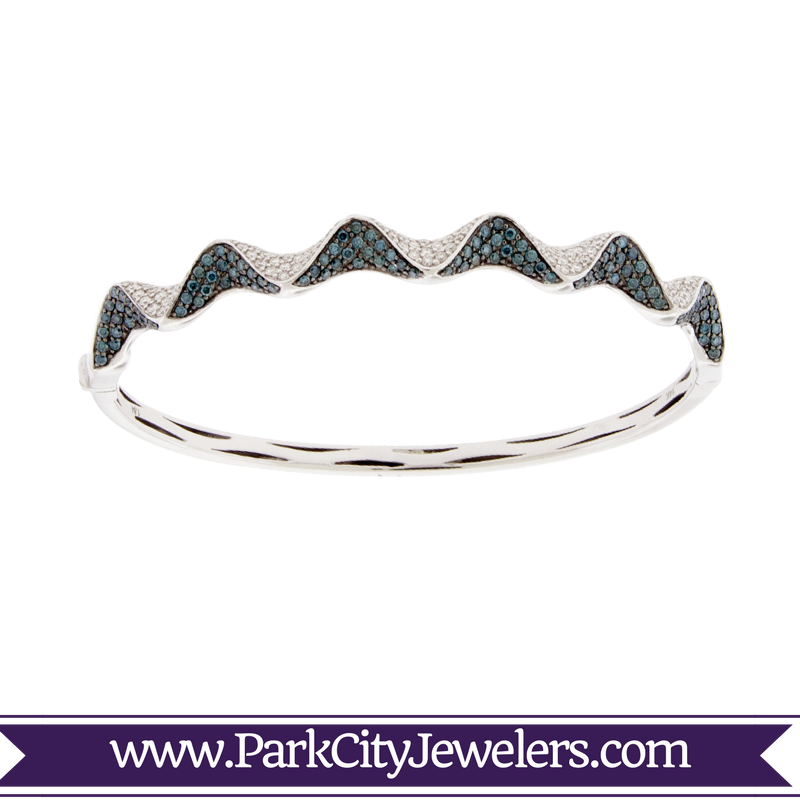 Blue and White Diamond Triangular Ribbon Bangle Bracelet