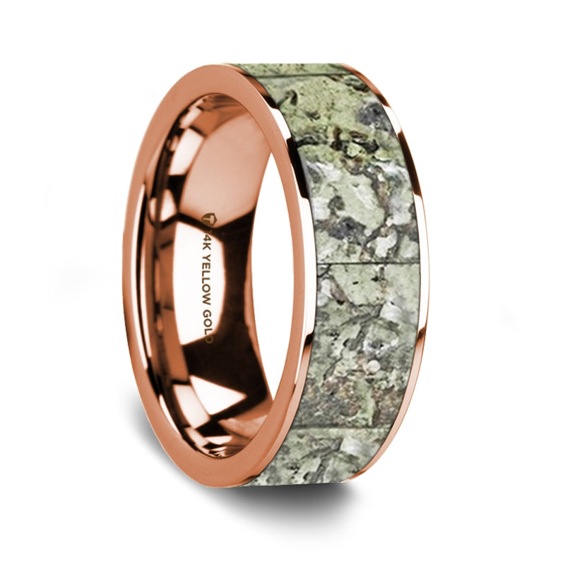Flat Polished 14K Rose Gold Ring with Green Dinosaur Bone Inlay