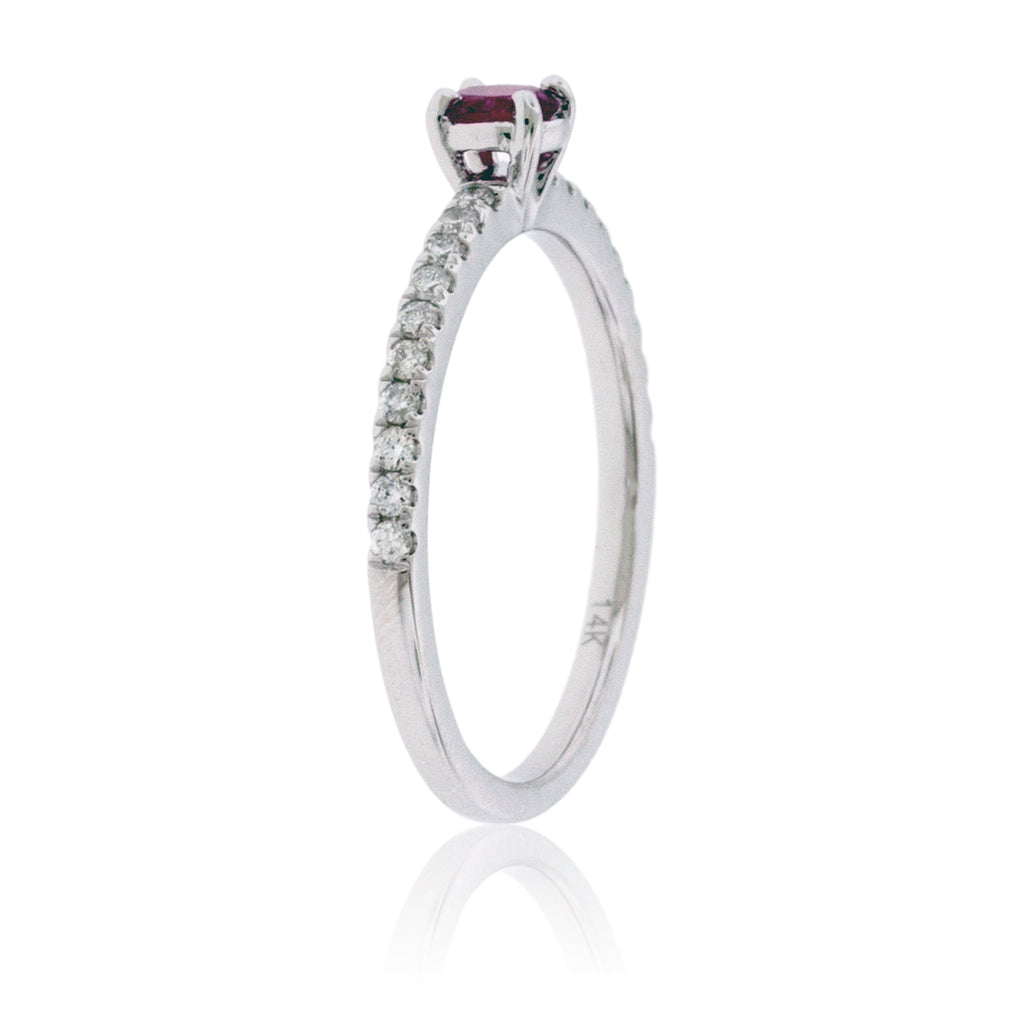 Oval Red Emerald with Diamond Shank Ring