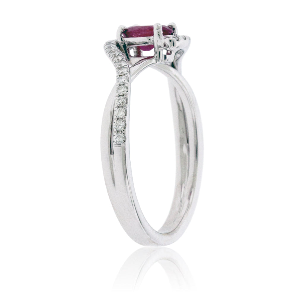 Oval Red Emerald with Diamond Bypass Shank Ring
