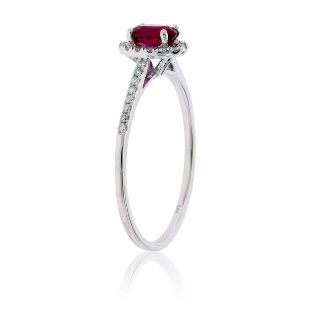 Oval Red Emerald with Diamond Halo Ring