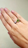 Trillion Cut Peridot and Three Diamond Accented Ring