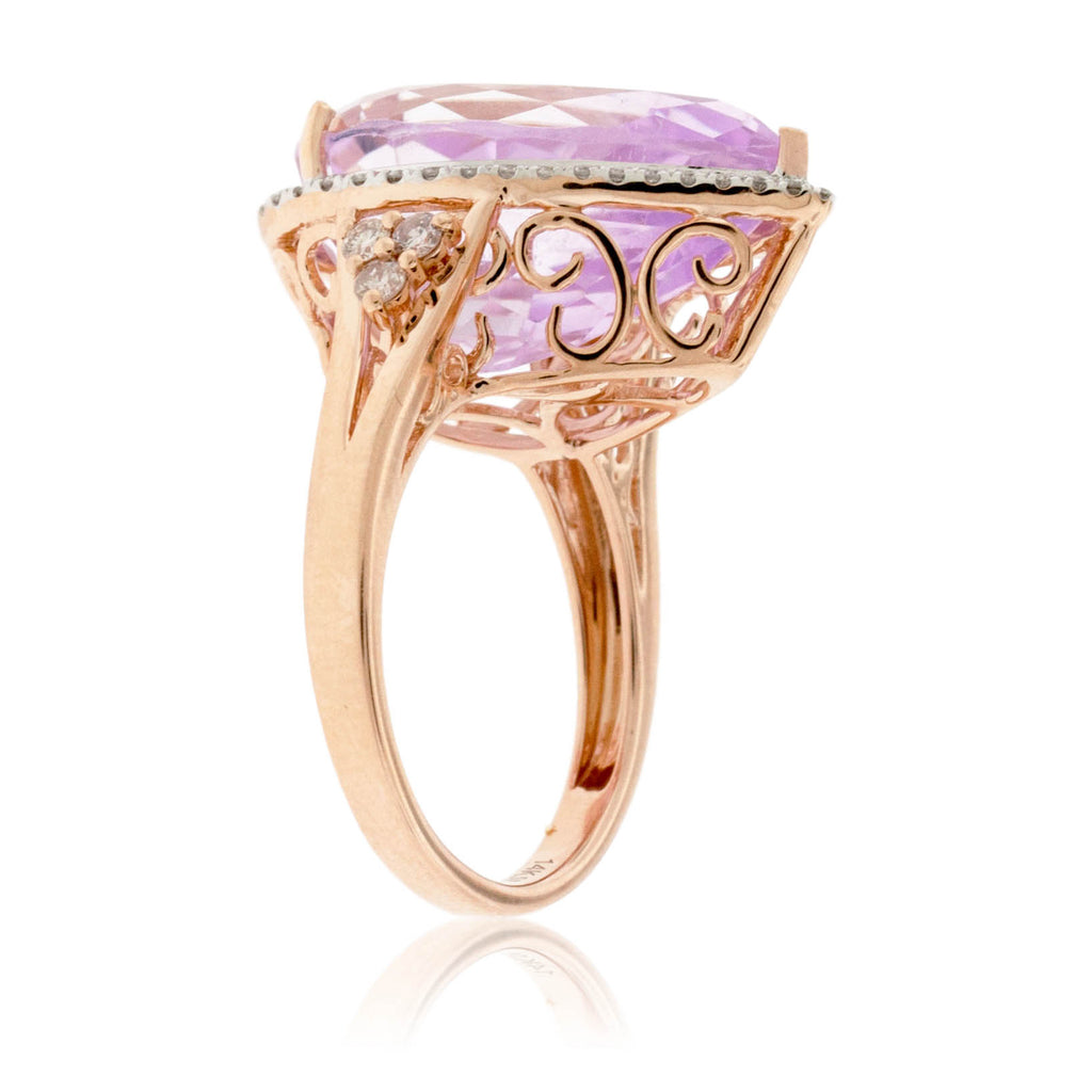 Pear Shaped Kunzite and Diamond Halo Ring in Rose Gold