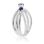 Round Blue Sapphire with Diamond Accent Ring