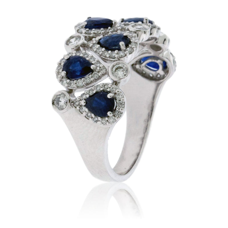 Pear Shaped Sapphire and Diamond Accented Ring