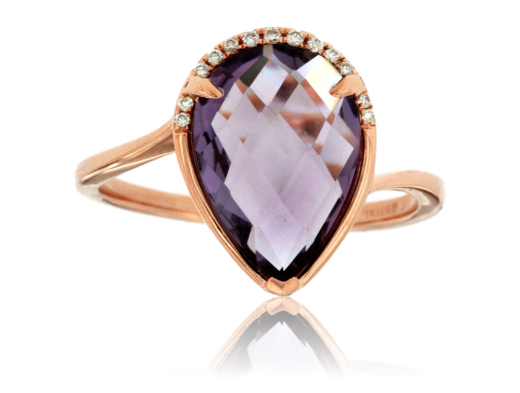 Amethyst and Diamond Half Halo Ring in Rose Gold