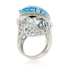 Sterling Silver Blue Topaz & White Topaz Cocktail Ring