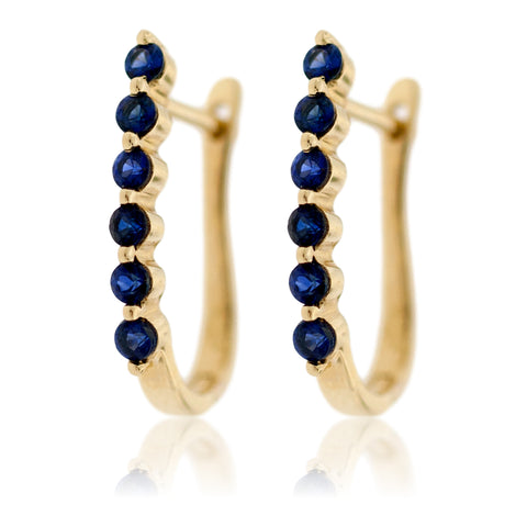 Blue Sapphire and Yellow Gold Earrings