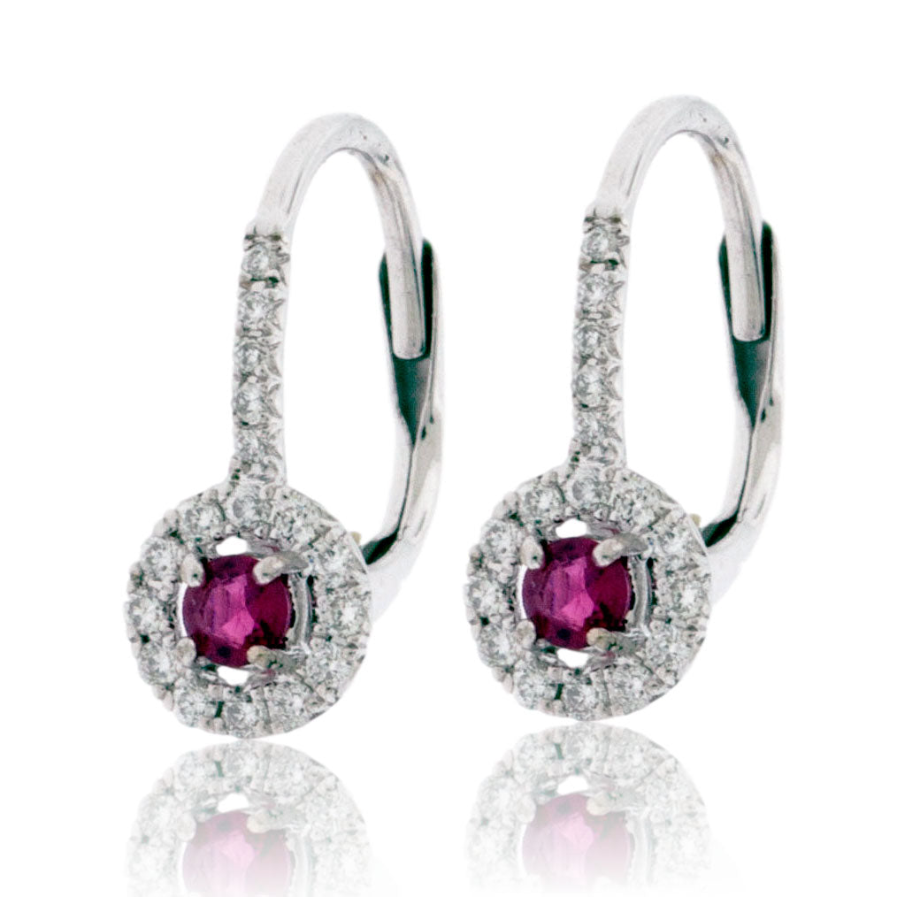 Red Emerald Dangle Earrings with Diamond Halo in White Gold