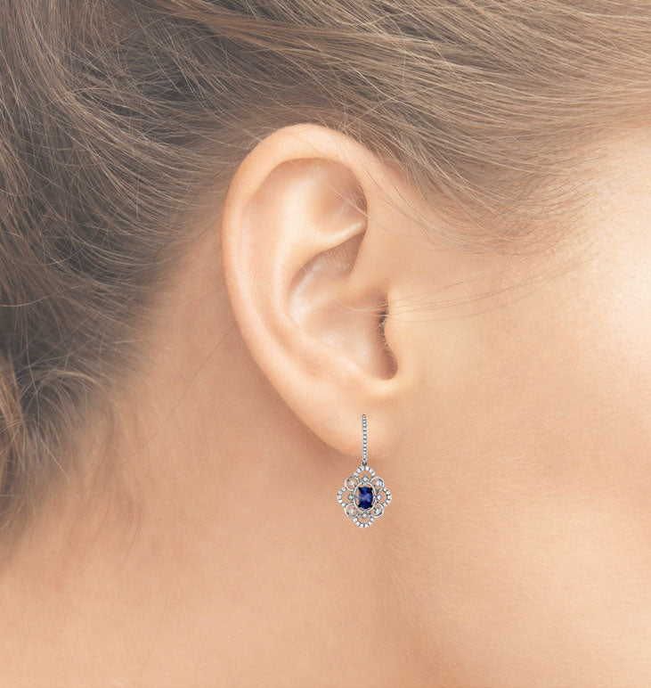 Oval Tanzanite Fancy Design Diamond Drop Earrings