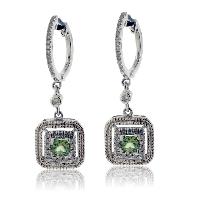 Green Sapphire and Diamond Square Dangle Earrings