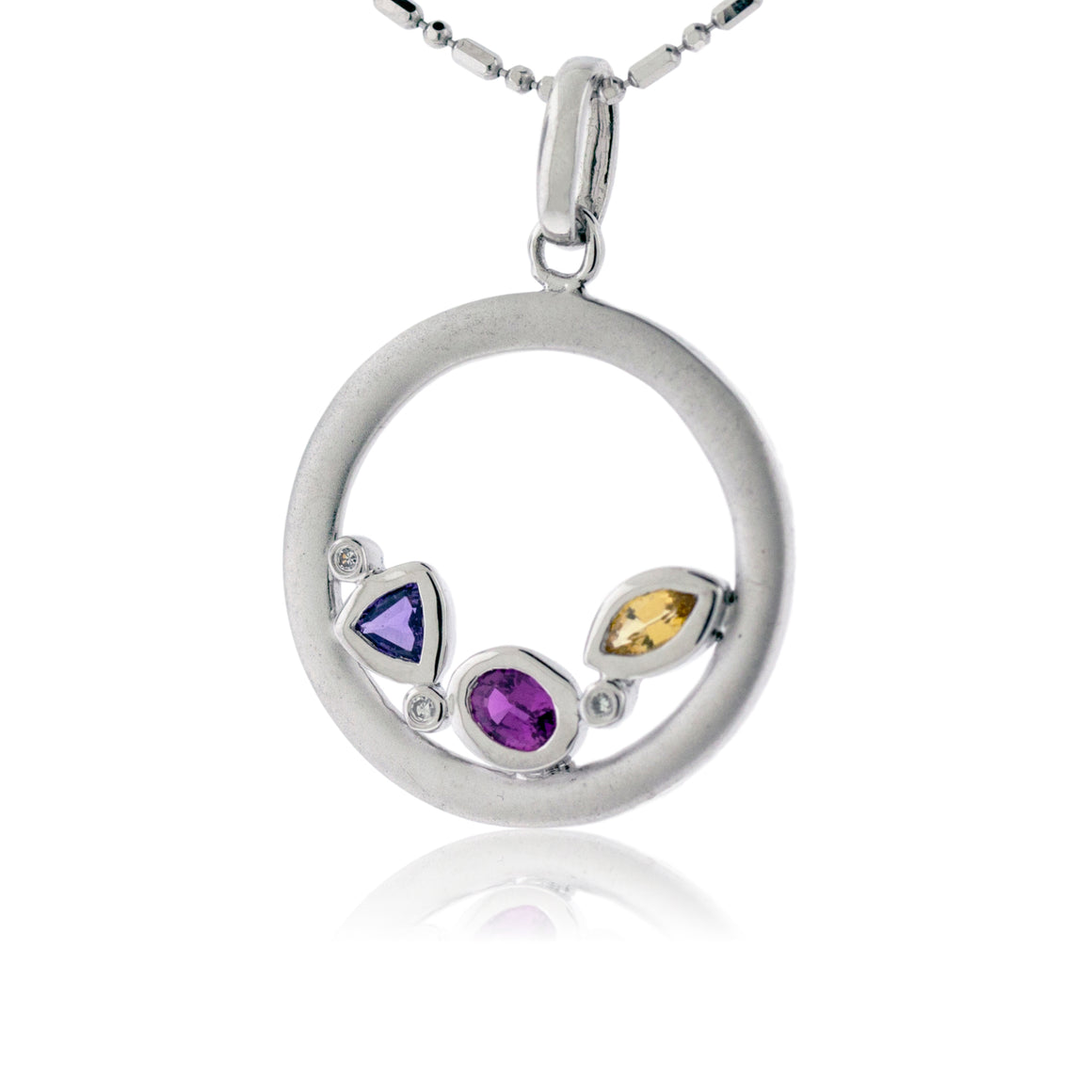 Sterling Silver Rainbow Sapphire Circle Shaped Pendant