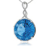 Millennial Cut Round Blue Topaz and Diamond Necklace in White Gold