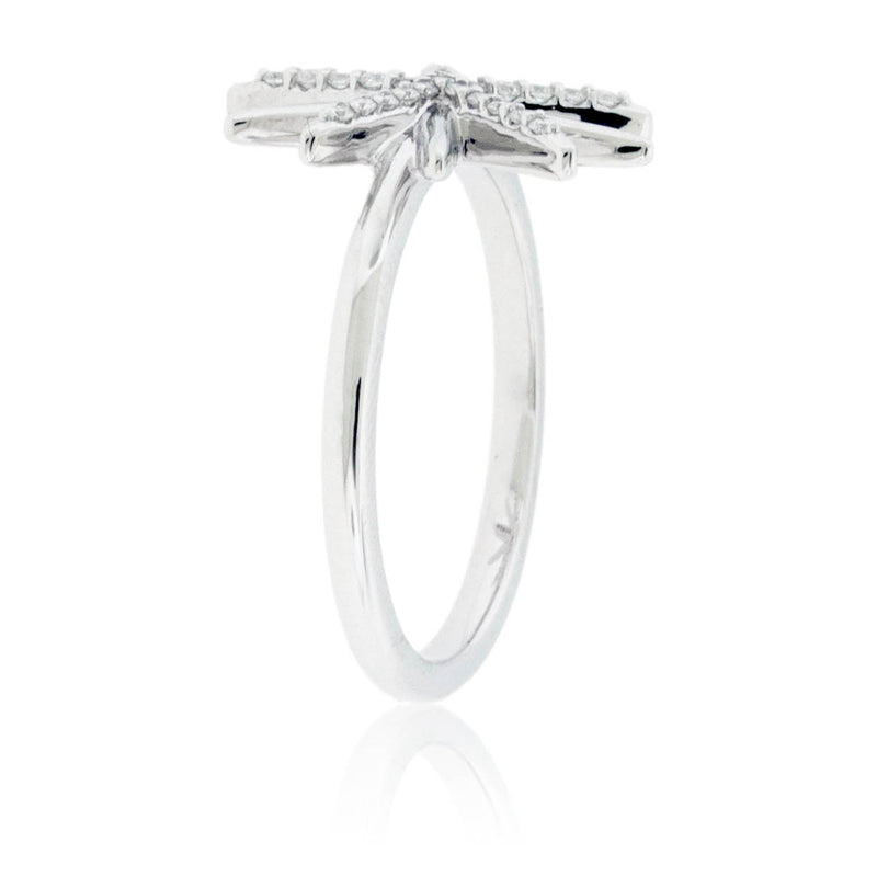 Diamond Sunburst Snowflake Ring with Diamond Band