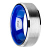Flat Beveled-Edged Tungsten Ring with Brushed Center and Vibrant Blue Ceramic Inside