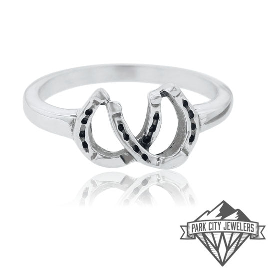 Sterling Silver Double Horse Shoe Ring